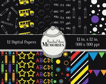 Digital Papers, School Chalkboard Look, 12 inches x 12 inches, 300 ppi (dpi), Scrapbooking & Craft Papers, Downloadable and Printable