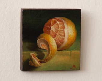 Still life with lemon, Oil painting on canvas sticked on linden wooden panel