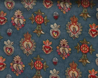 Sacred Heart Religious Cotton Fabric, Quilt or Craft Cotton Fabric