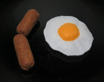Kitty Cat Catnip Eggs and Sausage Link Breakfast Toys. Unique, Soft Fake Felt Play Food.