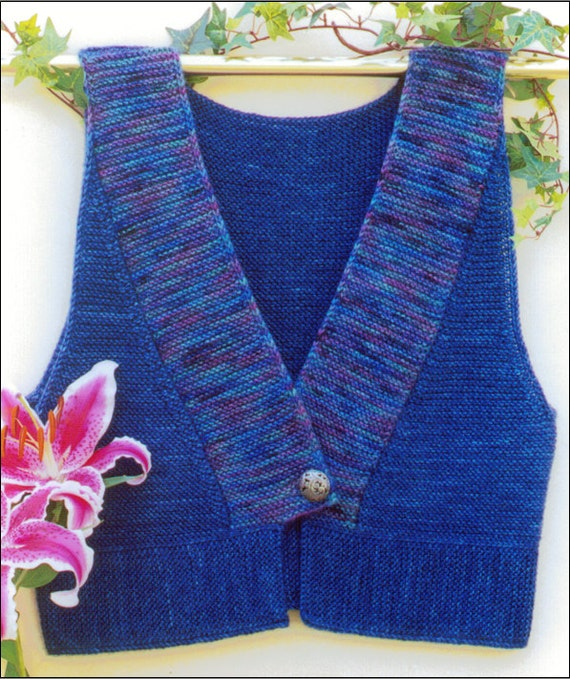 Knitting Edges Garter Stitch : Kimono vest knitting pattern pdf garter stitch finished