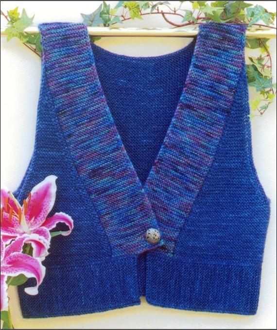 Kimono Vest Knitting Pattern pdf garter stitch finished