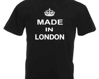 Made Born In London Adults Black T Shirt Sizes From Small - 3XL