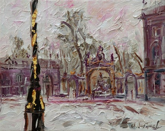 Peinture à l'huile, peinture de la ville de Nancy, peinture originale, huile sur toile, peinture d'hiver, place Stanislas, cadeau