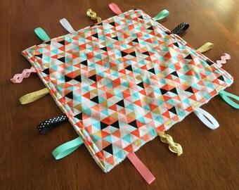 Handmade Baby/Toddler/Child Sensory Taggie Blanket Comforter Shower Gift gold
