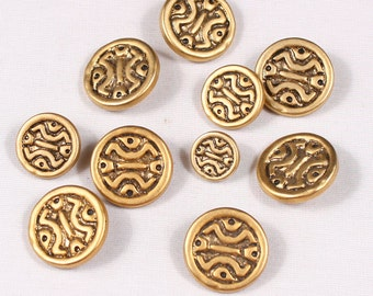 Set of 10 buttons 15mm, 20mm and 25mm, metal, brass rod (4004)