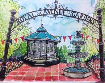Dartmouth Royal Avenue Gardens. Original A4 Watercolor and pen illustration