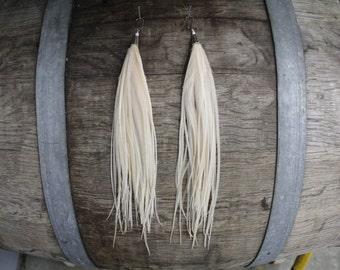 Long White Feather Earrings