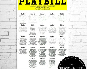 PLAYBILL Broadway Seating Chart - Personalized Version - for Wedding Reception, Rehearsal Dinner,  Bar or Bat Mitzvah, Digital File