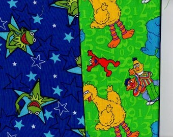 Novelty - 1/2 yd ea - Kermit and Big Bird - Sesame Street