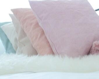 Linen cushion powder pink - linen pillow - 50 cm - 20 inch - handdyed linen pillow powder pink - powder pink linen pillow - european linen