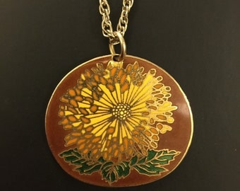"""Chrysanthemum Cloisonné Pendant Charm With 24"""" Rope Chain"""