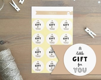 Stickers 12 pieces / A Little Gift For You (3 cm round)