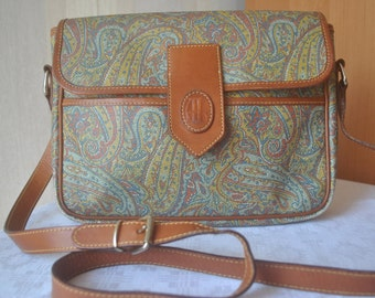 Vintage paisley faux leather / genuine leather trimmed  shoulder bag  messenger bag