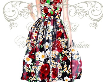 Dolce & Gabbana catwalk-Fashion illustration art print,fashion sketch,fashion wall art