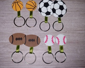 Sports theme party favors, Basketball/Football/Baseball keychains, 8 key chains, kids party favors