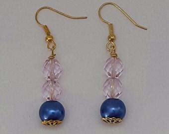 Dark blue rose earrings