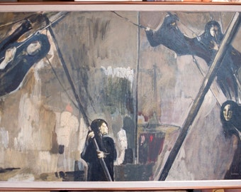 "Carol Wald ""Children on Swings"" Oil on Masonite 1965"