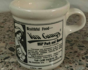 Vintage McCoy pottery mug marked 1412, Van Camp's Boston Baked Pork and Beans Circa 1890 mug