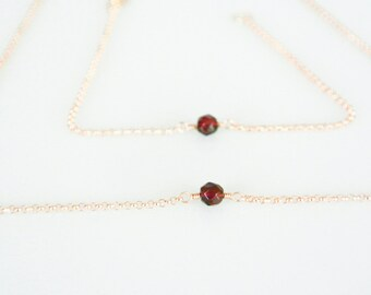 Garnet Solitaire Necklace, Simple Birthstone Necklace, Dainty Gemstone Choker or Layering Necklace