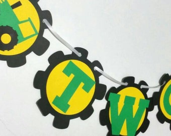 John Deere Themed 2nd birthday banner , Tractor themed high chair banner , John Deer two sign