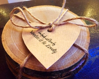 Wooden It Be Lovely set of 4 Coasters