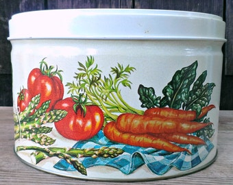 Vintage Large Tin with Vegetables