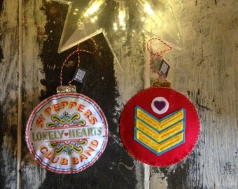 Sgt Peppers Drum- Lonely Hearts Club Christmas Tree Decoration Felt Beatles Ornament Handmade Gold Music