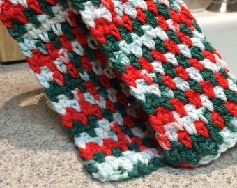 Holiday Kitchen Dishcloths, Handmade, set of 3