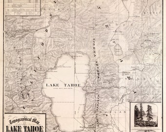 1874 Map of Lake Tahoe and Surrounding Country