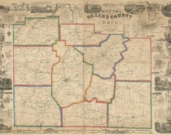 1855 Map of Greene County Ohio Xenia