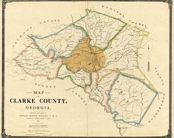 1898 Map of Clarke County Georgia Athens landowner reprint