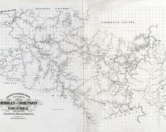 1880 Map of Morgan Johnson Magofin Floyd & Martin County Kentucky