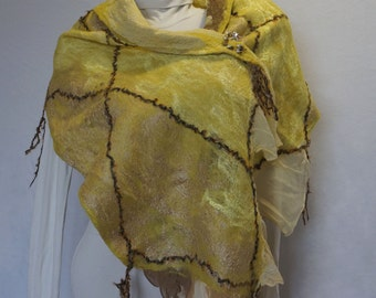 Nuno Felted Scarf, Felted Wool Scarves, Wraps, Scarf, Olive Green With Decorative Threads.