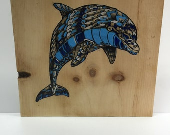 Dolphin - Upcycled Repurposed Wood Art