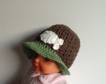 Crochet Baby Hat, RTS, Fisherman Hat, Brown Baby Hat, Spring Baby Hat,Fishergirl Hat, Baby Sun Hat,  3-6 Months, Cotton Baby Hat