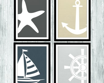 Bathroom Art: Nautical Bathroom Printable, Ship wheel, Anchor, Sailboat, Bathroom Wall Decor 5x7