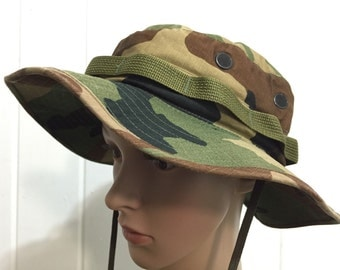 90's us army acmouflage bucket hat made in usa hot weather type 2 safari hat size 7 1/4