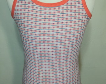70's vintage jacquard tank top all over print womens size small