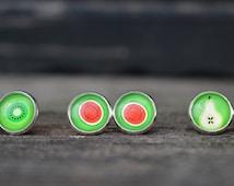 Tutti frutti earrings,kiwi earrings,watermeloen studs,pear studs,buy 2 get 3rd. free