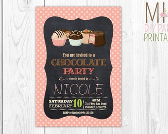 Chocolate Party Invitation,Chocolate Shoppe inviations, Chocolates, Candy, Sweets, Treats, Birthday, Children, Kids,Party, Candy Shoppe