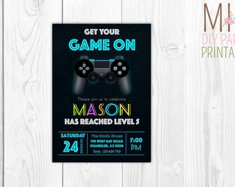 Funny video game  invite,Video Game Party Invitation,video game party ,video game birthday,video game printable,game invitation, game party