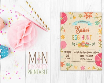Cute easter card,Happy Easter Invitation,Easter Invitation, Easter Egg Hunt, Easter Party Invitation, Easter Birthday Invitation