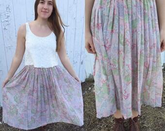 1980s pink pleated skirt / vintage skirt / 80s skirt / chiffon skirt / vintage pleated skirt / medium