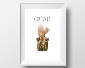 Create-cactus-inspirational-wall art-design-decor-office decor-nursery decor-prints-digitalprint-vector-southwest theme-desert-plants-sunset