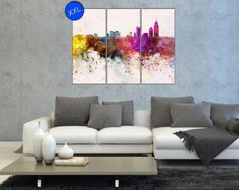 Mobile Watercolor Art skyline canvas wall art print Mobile Watercolor One or three panel art print