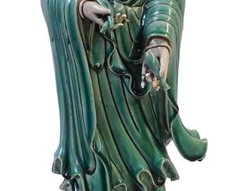 Chinese Oriental Porcelain Green White Kwan Yin Statue cs1918E