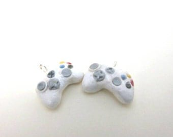 Xbox 360 controller earrings - wireless - white polymer clay- video game - gamers