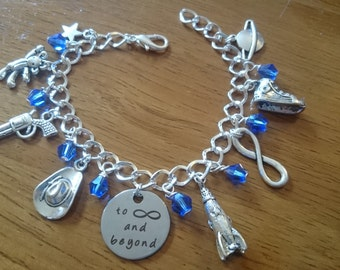 To infinity and beyond deluxe silver adjustable charm bracelet available in adult and child sizes