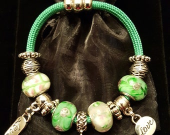 Green Rope Bracelet w/the Big Sister Charm